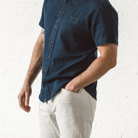 Our fit model wearing The Camp Pant in Organic Natural Selvage.