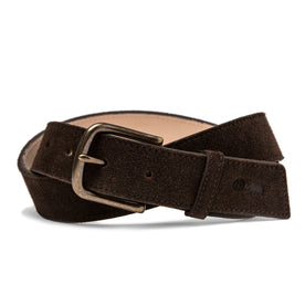 The Stitched Belt in Weatherproof Chocolate Suede - featured image