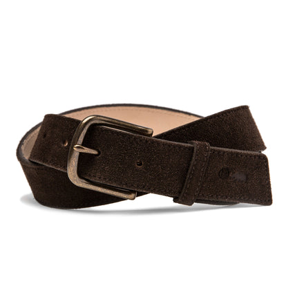 The Stitched Belt in Weatherproof Chocolate Suede: Featured Image