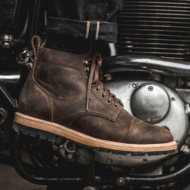 our fit model wearing The Moto Boot in Espresso Grizzly from Taylor Stitch.