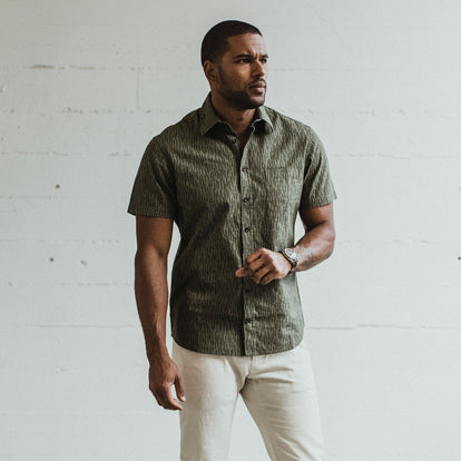 Our fit model wearing the Short Sleeve California in Rain Drop Camo in San Francisco.
