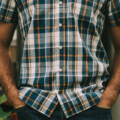 Our fit model in The Short Sleeve California in Blue Madras at a BBQ.