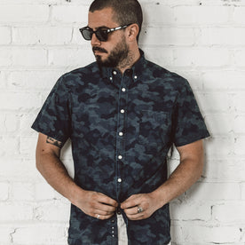 The Short Sleeve Jack in Indigo Jacquard Camo: Alternate Image 1