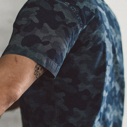 The Short Sleeve Jack in Indigo Jacquard Camo: Alternate Image 2