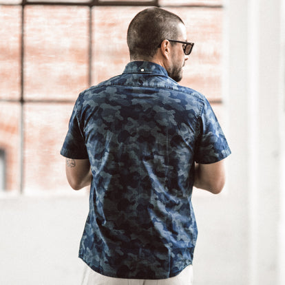 The Short Sleeve Jack in Indigo Jacquard Camo: Alternate Image 5