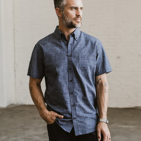 The Short Sleeve Jack in Navy Slub Glen Plaid - alternate view