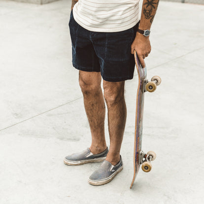 Our fit model wearing The Trail Short in Navy Cord.