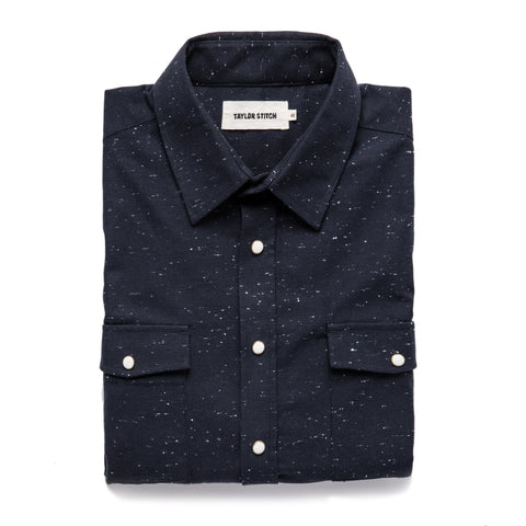 The Glacier Shirt in Navy Nep Twill - featured image