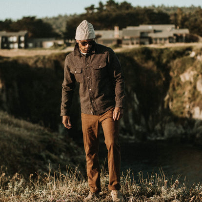 our fit model wearing The Camp Pant in Timber Boss Duck