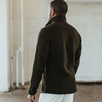 our fit model wearing the The Coit Jacket in Olive Waffle