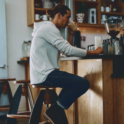 Our fit model in The Heavy Bag Hoodie in Natural getting some coffee in San Francisco.