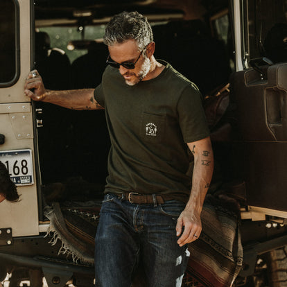 The Heavy Bag Tee in Prevent Fires worn by our fit model in Sea Ranch, California