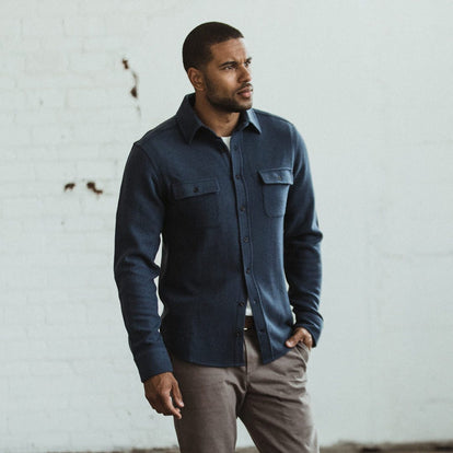 Our fit model wearing The Leeward Shirt in Dusk