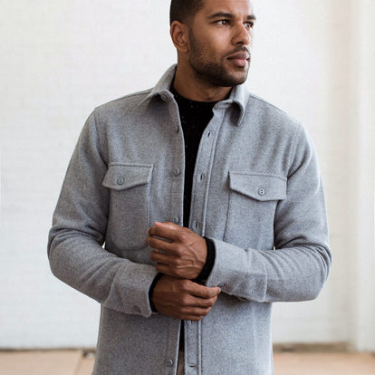 our fit model wearing The Maritime Shirt Jacket in Heather Ash Wave