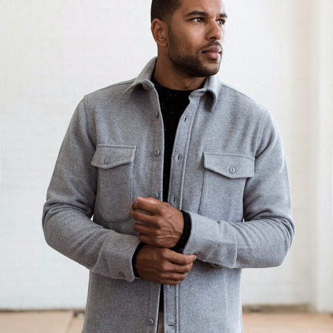 The Maritime Shirt Jacket in Heather Ash Wave - alternate view