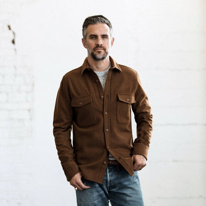our fit model wearing The Maritime Shirt Jacket in Rust