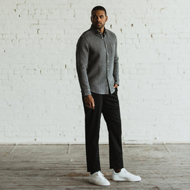 Our fit model in the Slim Chino in Organic Coal in San Francisco.