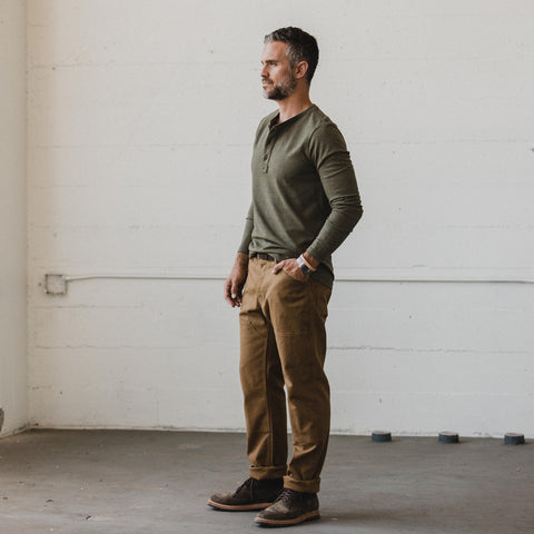 The Heavy Bag Henley in Fatigue Green - alternate view