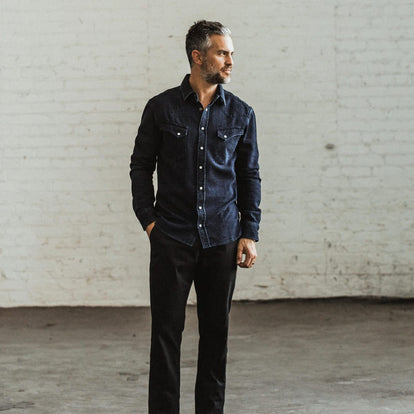 our fit model wearing The Western Shirt in Indigo Crepe