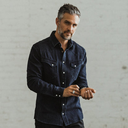 Our fit model wearing The Western Shirt in Indigo Crepe.