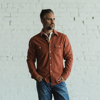 Our fit model wearing The Yosemite Shirt in Dusty Red by Taylor Stitch.
