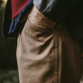 Detail shot of the cord camp pants worn by our fit model