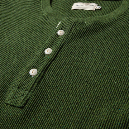 The Heavy Bag Waffle Henley in Heather Olive: Alternate Image 5