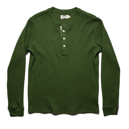 The Heavy Bag Waffle Henley in Heather Olive: Featured Image