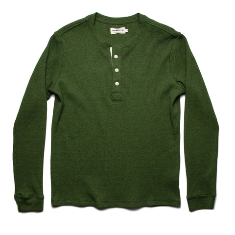The Heavy Bag Waffle Henley in Heather Olive - featured image