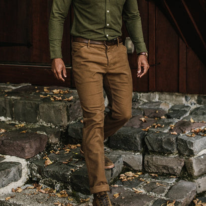 our fit model wearing The Camp Pant in British Khaki Moleskin