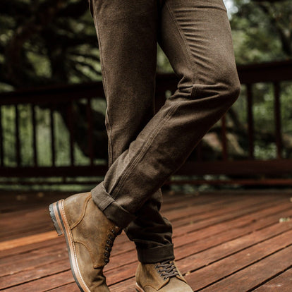 our fit model wearing The Camp Pant in Heather Olive Twill