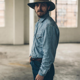 The Western Shirt in Washed Indigo: Alternate Image 3