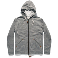 The Après Hoodie in Olive Stripe Hemp Fleece