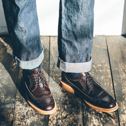 The fit model dressing down the brogue shoe