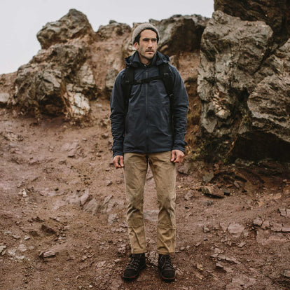 Fit model in weather proof jacket hiking
