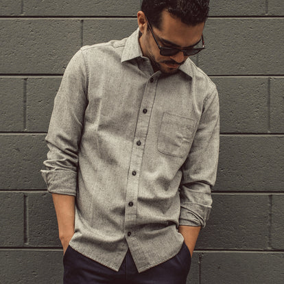 Our fit model wearing The California in Charcoal Herringbone.