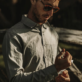 Our fit model wearing The California in Olive Hemp Poplin.