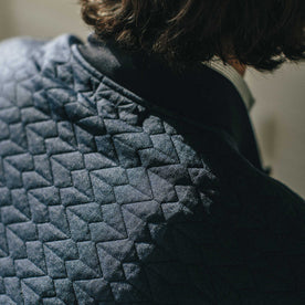 Our fit model wearing The Inverness Bomber in Navy Knit Quilt.