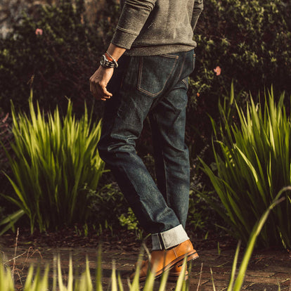 Our fit model wearing The Democratic Jean in Organic Stretch Selvage.