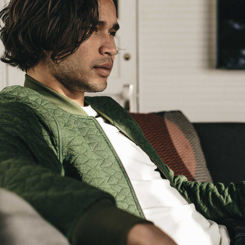 The Inverness Bomber in Olive Knit Quilt - alternate view