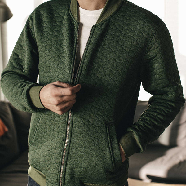 51e182cf9 The Inverness Bomber in Olive Knit Quilt | Taylor Stitch