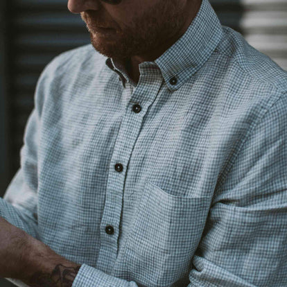Our fit model wearing The Jack in Ash Gingham from Taylor Stitch.