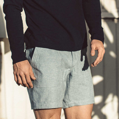 The Trail Short in Midnight Slub on fit model