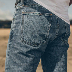 Our fit model showing the back of the denim fit