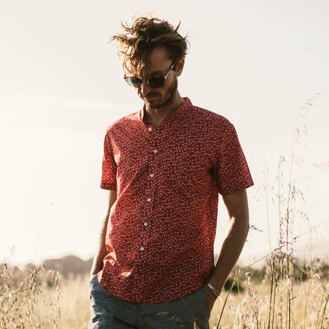 The Short Sleeve Bandit in Red Mini Floral - alternate view