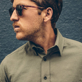 A close up of our fit model in the Olive Dot California