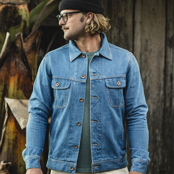 62ba16862ab Our fit model wearing The Long Haul Jacket in  68 24 Month Wash.