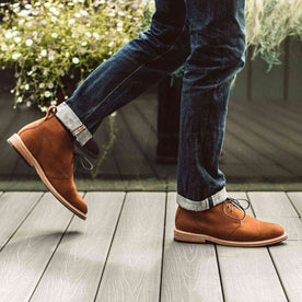 our fit model wearing The Chukka in Tumbled Sedona