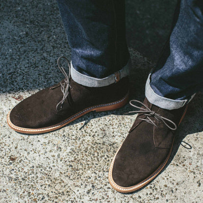 The fit model wearing the chukka in the city