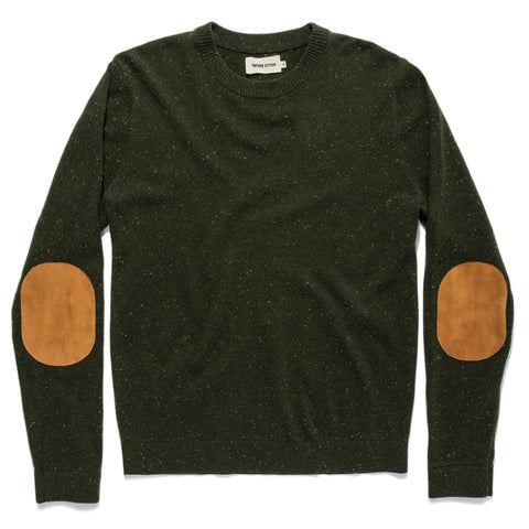 The Hardtack Sweater in Olive Cashmere Donegal - featured image